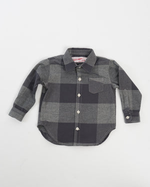 Kids Charcoal Check Flannel Shirt - front