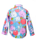 Kids Button Up Shirt Flower Power Print - back