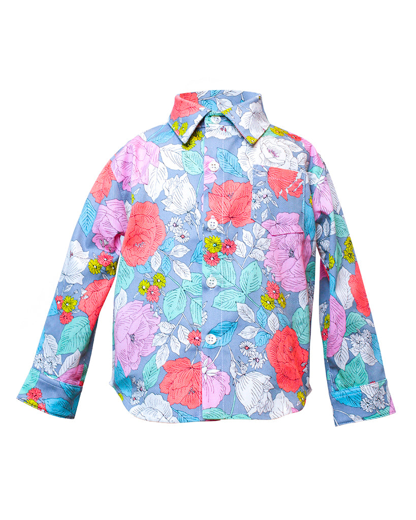 Kids Button Up Shirt Flower Power Print - front