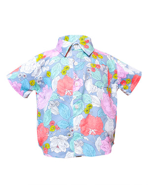 Kids Short Sleeve Button up Shirt Floral Pattern - front