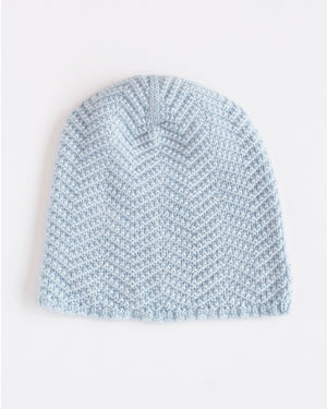 Hopper Hunter | The Herringbone Toque | Light Blue Merino Wool