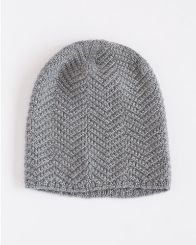 Hopper Hunter | The Herringbone Toque | Light Grey Merino Wool