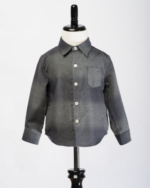 Kids Button Up Shirt - Charcoal Check - front