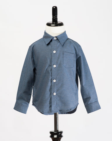Kids Button Up shirt - navy fleck - front