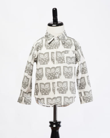 Kids Long Sleeve Button Up Owls - front