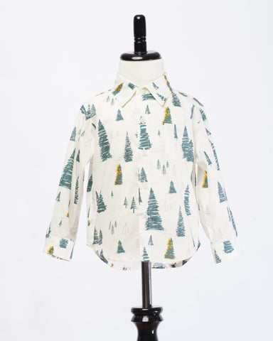 Kids Button Up Shirt - Pines - Front