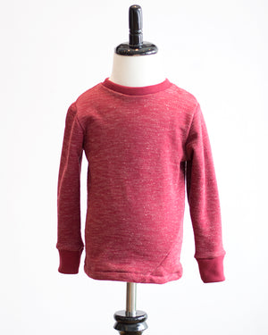 Kids Maroon French Terry Long Sleeve Shirt - front
