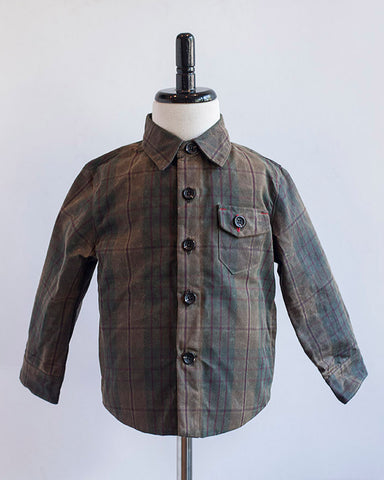 Kids Olive Plaid Waxed Cotton Jacket - front