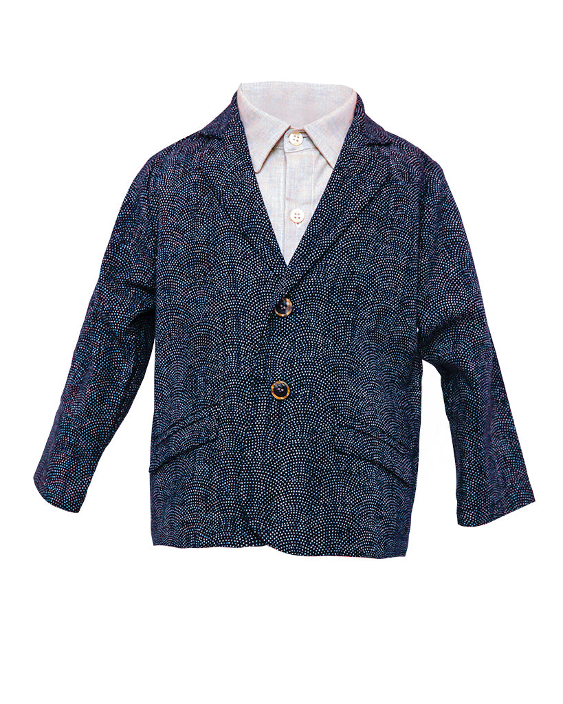 Kids Navy Blazer with White Dots - Front