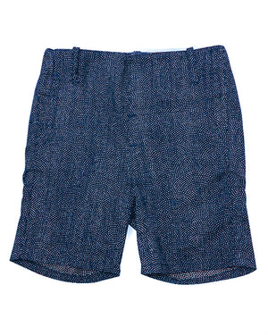 Kids Summer Shorts Navy with White Dots - front