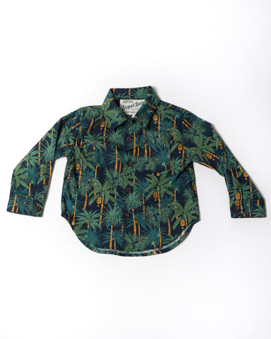 Cotton long sleeve navy palms shirt front