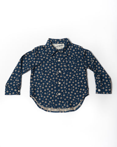Cotton long sleeve Blue with cream flowers shirt front