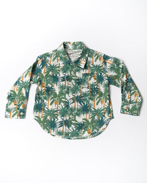 Cotton long sleeve white palms shirt front