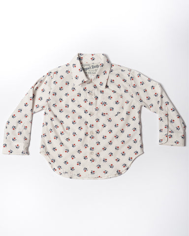 Cotton long sleeve white wild flower shirt front