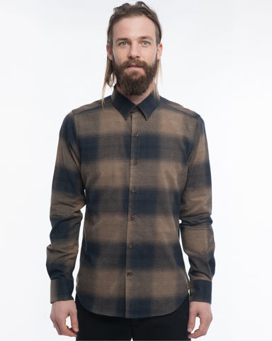 The Dylan Long Sleeve Shirt | Large Brown Check