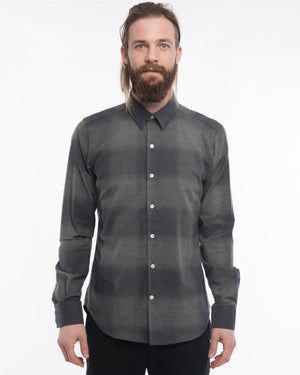 The Dylan Long Sleeve Shirt | Black & Grey Plaid