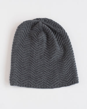 The Herringbone Toque | Charcoal Merino Wool