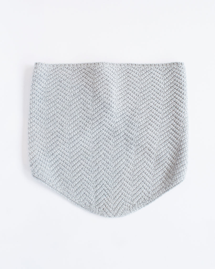 Grey Herringbone Neckwarmer Merino Wool - front
