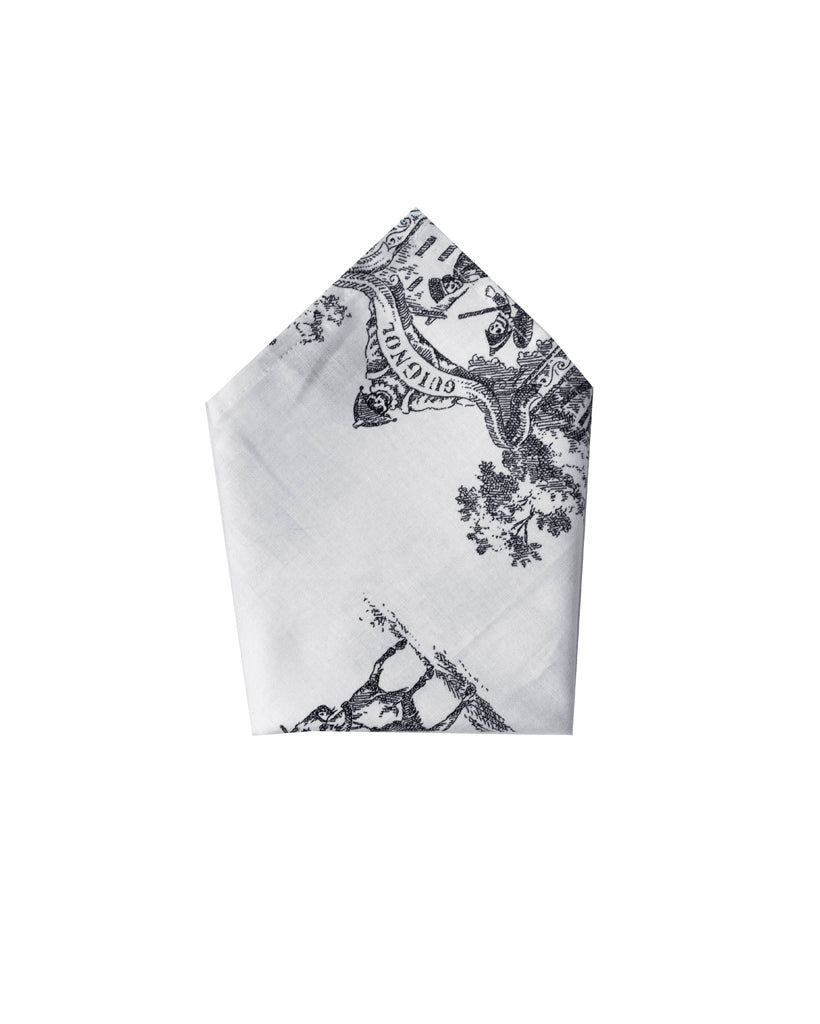 Black and White Living Dead 2.0 Printed Pocket Square | folded