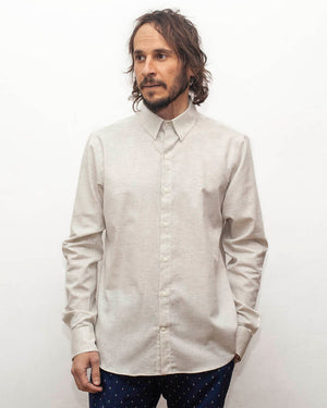 Heather White Long Sleeve Men's Shirt | front