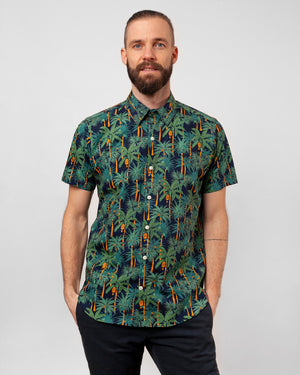 The Dylan Shirt Short Sleeve | Navy Jungle Palms