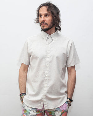 Short Sleeve Men's button up shirt | Heather White - front
