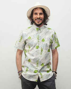 Men's floral print shirt with blue and green short sleeve, white base - front