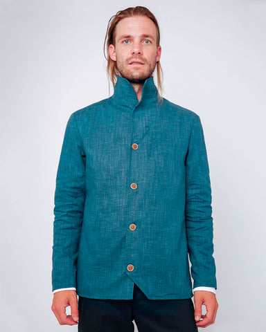 Men's Blue Cotton Jacket - front