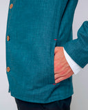 Men's Blue Cotton Jacket - side pocket detail