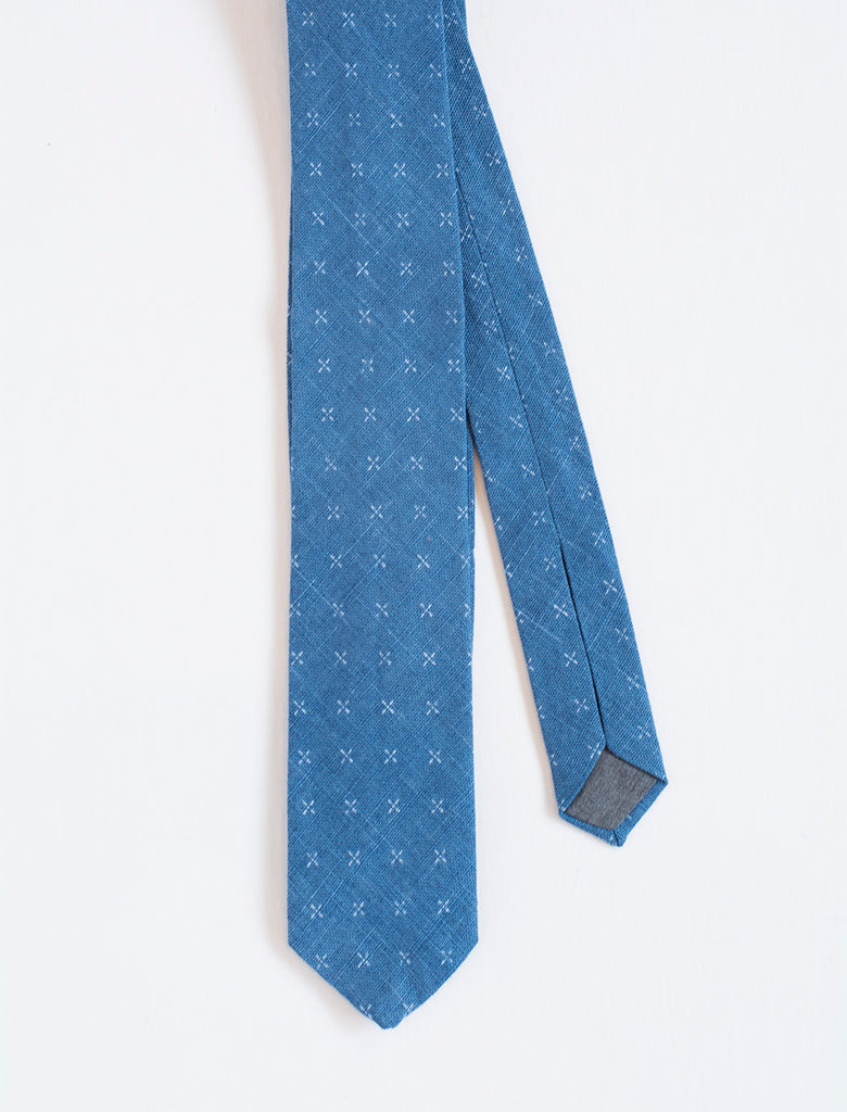 Men's Blue Patterned Tie - front