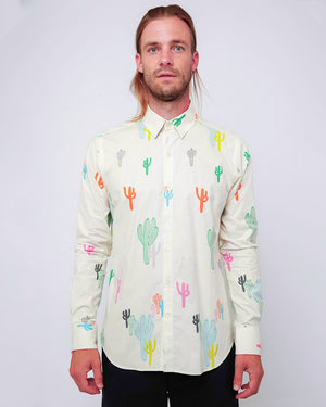 Men's Long Sleeve Button Up Shirt - White Cacti - front