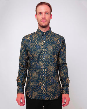 Men's Long Sleeve Button Up Shirt - Indigo Patchwork - front