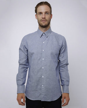 Men's Long Sleeve Blue shirt with small blue dots - front