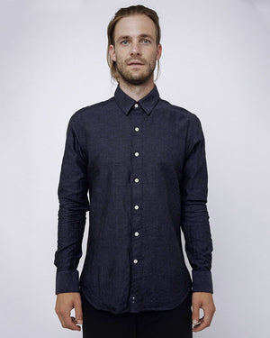 Men's Long Sleeve Navy Shirts with small dot detail - front