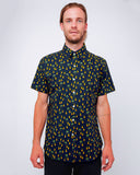 Men's Short Sleeve Button Up Shirt - Navy Pineapples Seersucker - front