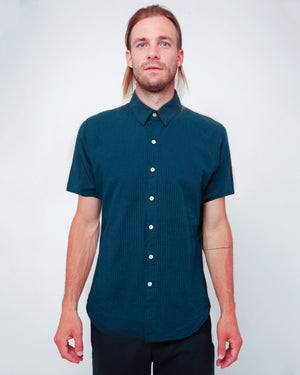 Men's Short Sleeve Button Up Navy Stripe Shirt - front