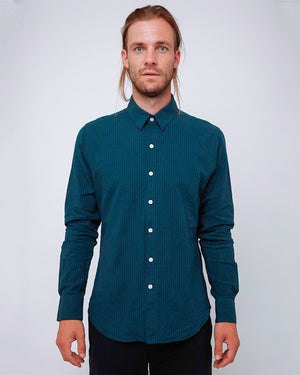 Men's Long Sleeve Button Up Shirt - Indigo Cotton/Linen Stripe - front
