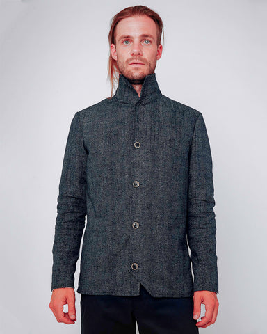 Men's Jacket Navy with White Dots - front closed