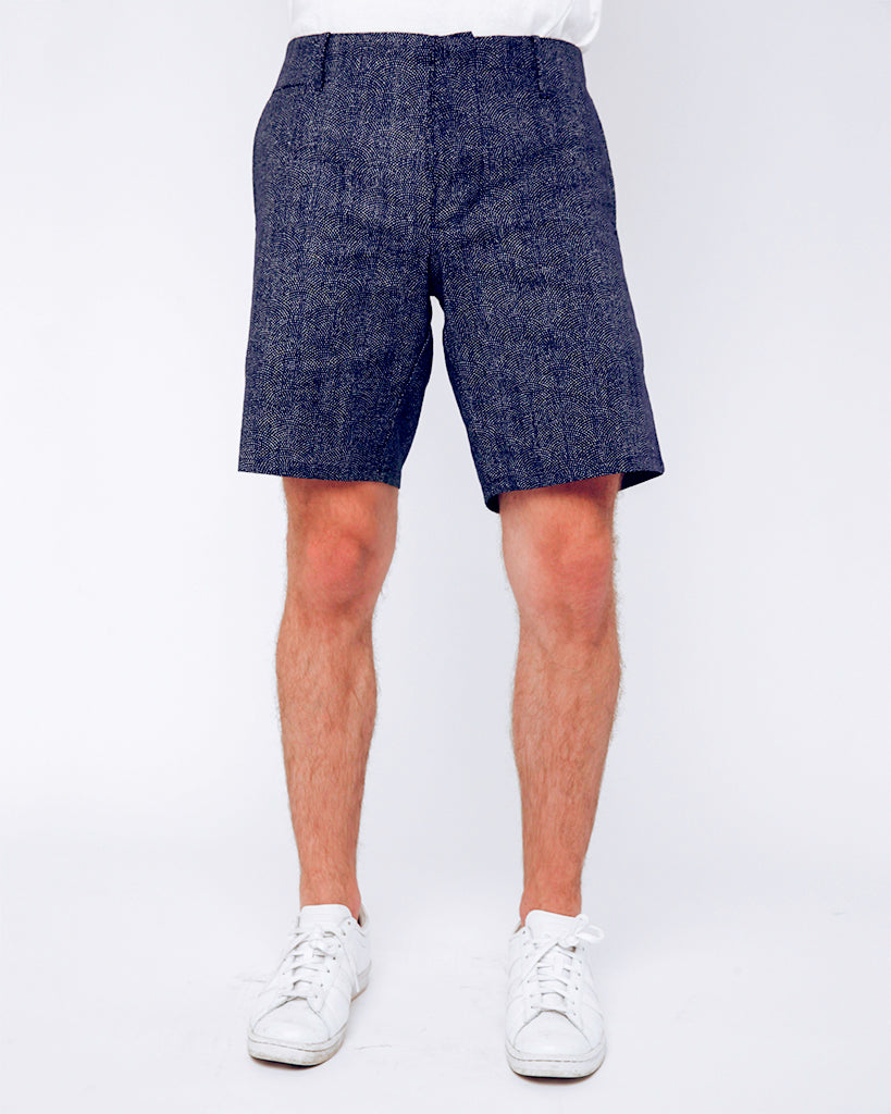 Men's Shorts - tiny white dots - front