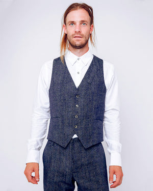 Navy with White Dots Suit Vest - front