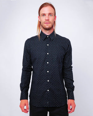 Men's Long Sleeve Button Up Shirt - Navy with White Mountains - front