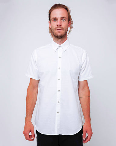 Men's Short Sleeve White Button Up Shirt with Heart Embroidery detail - front