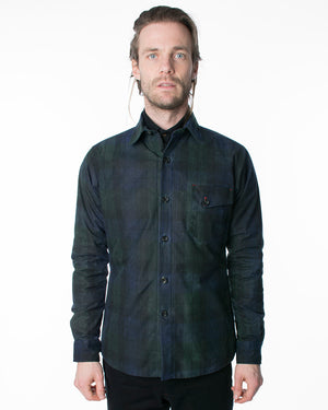 Mens Dark Plaid Jacket | 18 Waits | Front | Closed
