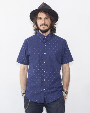 Men's Short Sleeve Navy Shirt with a small anchor detail - front