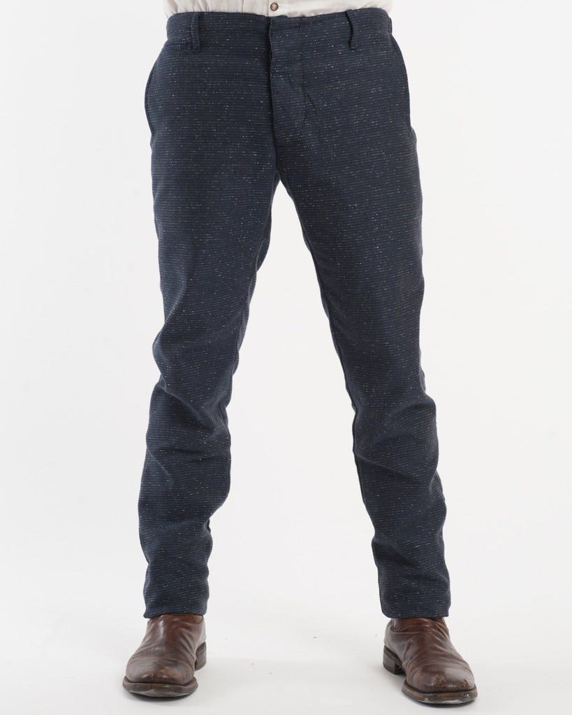 Navy Silk/Cotton Slim Suit Trousers - front