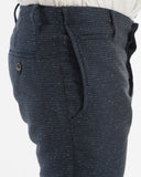 Navy Silk/Cotton Slim Suit Trousers - side