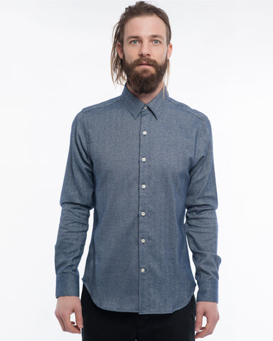 The Dylan Long Sleeve Shirt | Navy Herringbone