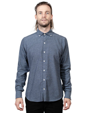 Navy Button Up Shirt | 18 Waits | Front
