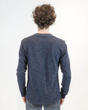 Navy French Terry Long Sleeve T-shirt- back