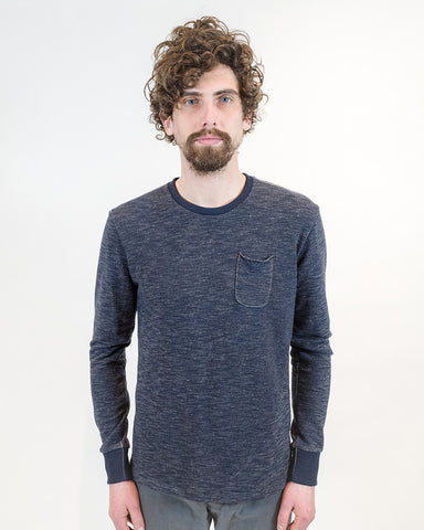 Navy French Terry Long Sleeve T-shirt - front